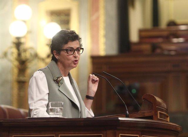 La ministra de Asuntos Exteriores, Unión Europea y Cooperación,Arancha González Laya, interviene durante una sesión plenaria en el Congreso de los Diputados, en Madrid, (España), a 28 de octubre de 2020. Esta intervención se produce tras una sesión de con