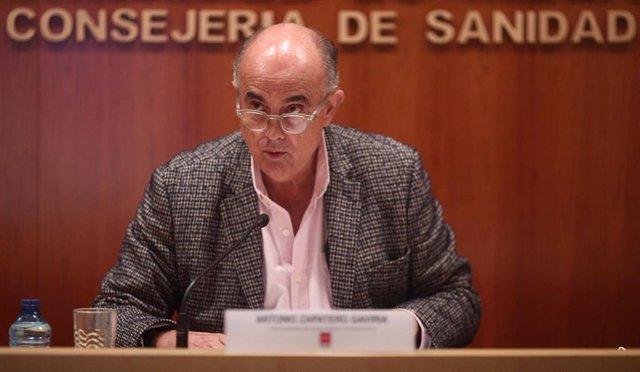 El viceconsejero de Salud Pública y Plan COVID-19 de la Comunidad de Madrid, Antonio Zapatero, ofrece una rueda de prensa sobre la situación epidemiológica y asistencial en la región, en Madrid (España), a 6 de noviembre de 2020.