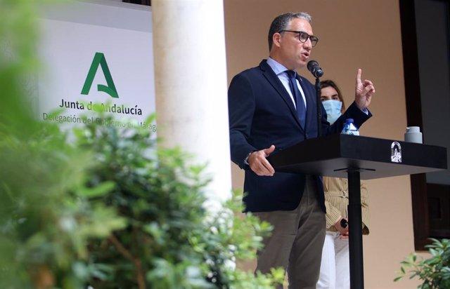 Elías Bendodo, consejero de la Presidencia, Administración Pública e Interior de la Junta de Andalucía, en la presentación de los presupuestos andaluces de 2021 para la provincia de Málaga