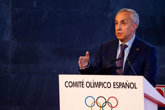 "Alejandro Blanco, President of COE, attends during the presentation of the Campaign ""For a Spain with values"" at the headquarters of the Spanish Olympic Committee on July 7, 2020, on Madrid, Spain. The event was attended by several of the athletes who wil"