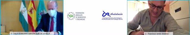 Imagen de la firma online del acuerdo de colaboración entre la FAMP y el Consejo Andaluz de Trabajo Social.