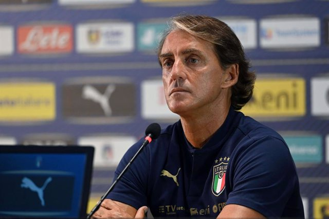 30 August 2020, Italy, Florence: Italy coach Roberto Mancini attends a press conference to present his squad for the UEFANations League Group Amatches. Photo: Jennifer Lorenzini/Lapresse via ZUMA Press/dpa
