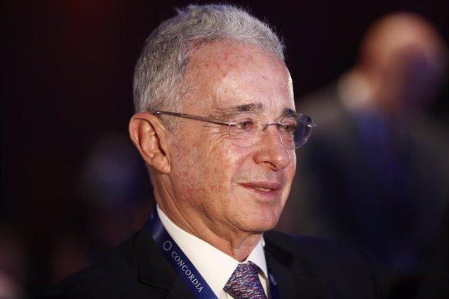 El expresidente de la República de Colombia, Álvaro Uribe Vélez, durante la I Concordia Europe - AmchamSpain Summit.