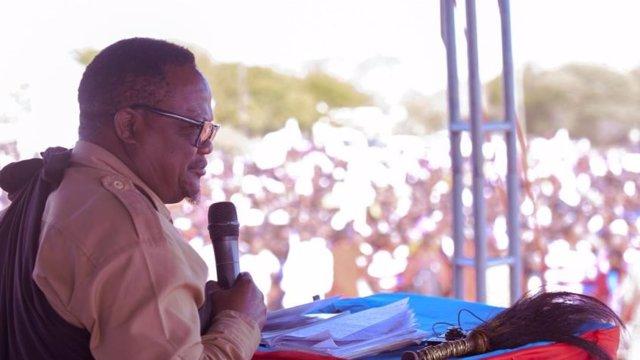 El candidato opositor Tundu Lissu durante un acto de campaña en Tanzania
