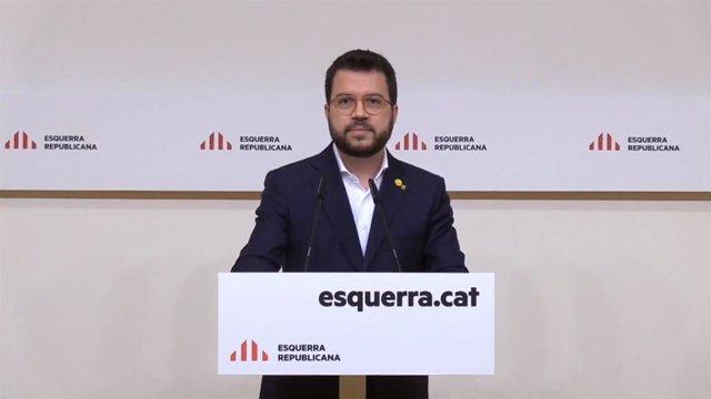 El coordinador nacional d'ERC i vicepresident de la Generalitat, Pere Aragonès, en la seva intervenció en el Consell Nacional extraordinari del partit de cara a les eleccions catalanes.