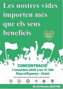 """Cartel de la convocatoria de la concentración de La Vida al Centre bajo el lema """"nuestras vidas importan más que sus beneficios""""."""