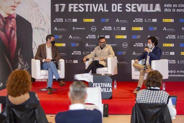 Pedro Vázquez (ROSS), Cienfuegos (17FS) y Francisco Cuadrado (SFOrchestra), durante la presentación del proyecto.