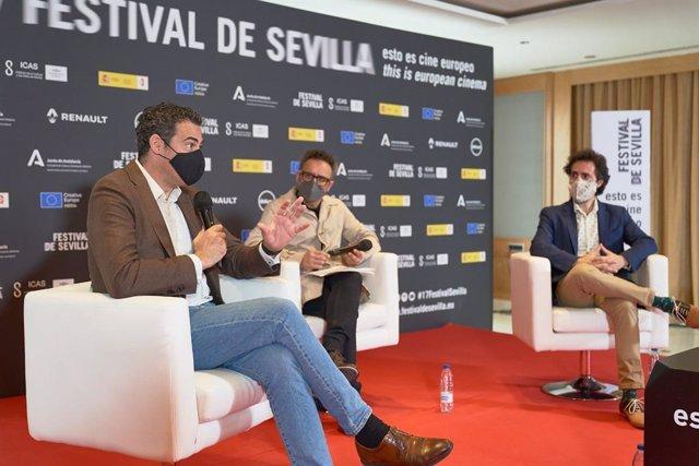 Imagen de la rueda de prensa de presentación del acuerdo de la Real Orquesta Sinfónica de Sevilla y Sevilla Film Orchestra para la grabación de bandas sonoras de cine.