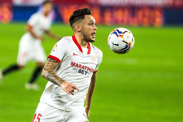Lucas Ocampos of Sevilla during LaLiga, football match played between Sevilla Futbol Club and Club Atletico Osasuna at Ramon Sanchez Pizjuan Stadium on November 7, 2020 in Sevilla, Spain.