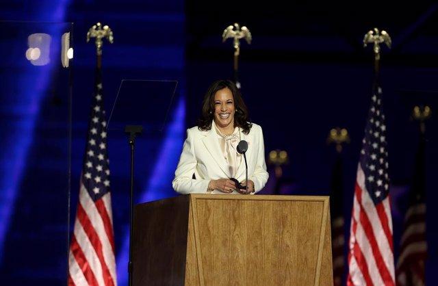 La vicepresidenta electa dels Estats Units, Kamala Harris, en el seu primer discurs després que els mitjans confirmessin la victòria dels demòcrates en les eleccions.