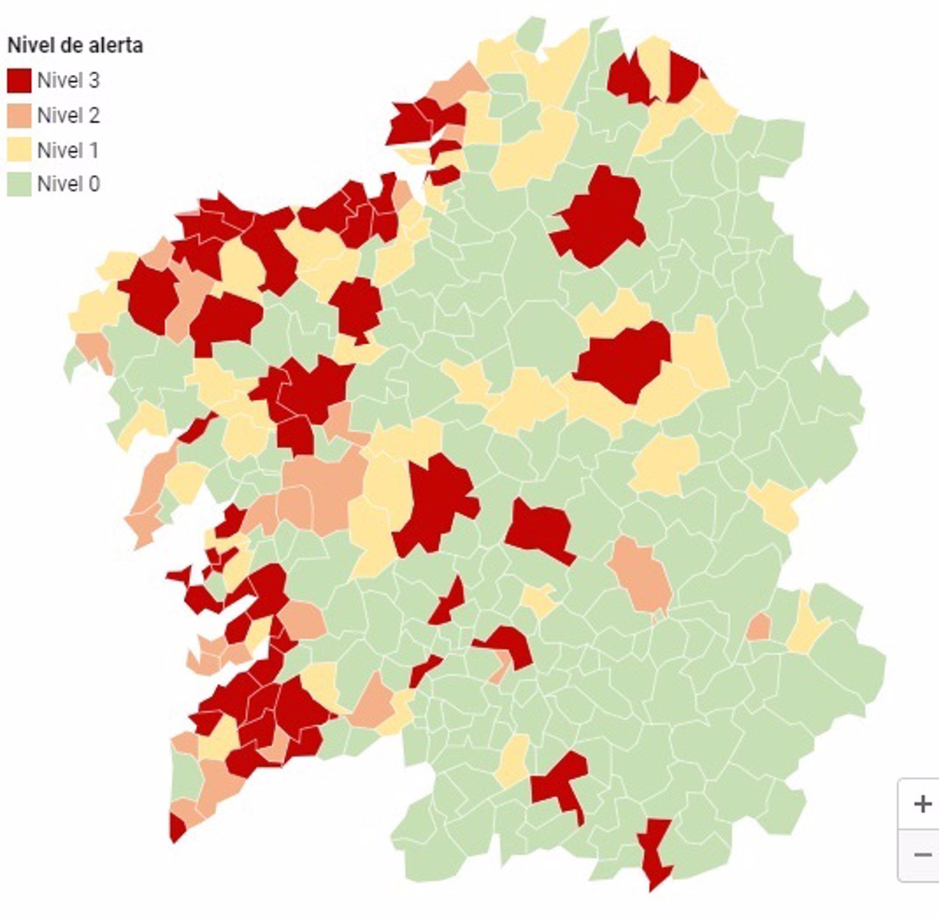 Medio centenar de concellos gallegos, en alerta roja por coronavirus