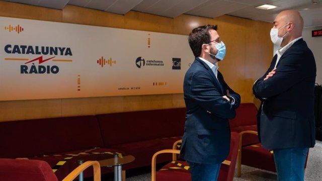 El vicepresident de la Generalitat, Pere Aragonès, als estudis de Catalunya Ràdio.