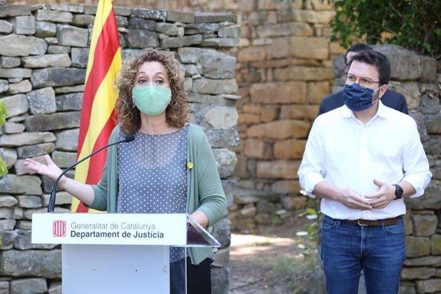 La consellera de Justícia, Ester Capella, i el vicepresident i conseller d'Economia de la Generalitat, Pere Aragonès.