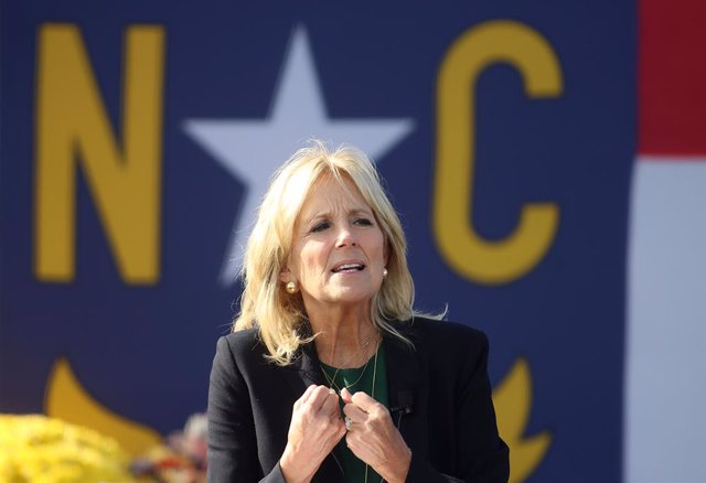 31 October 2020, US, Greensboro: Jill Biden, wife of Former Vice President and Democratic Presidential candidate Joe Biden, speaks during a Get Out the Vote Drive-In rally at the Greensboro Coliseum in North Carolina. Photo: Bob Karp/ZUMA Wire/dpa