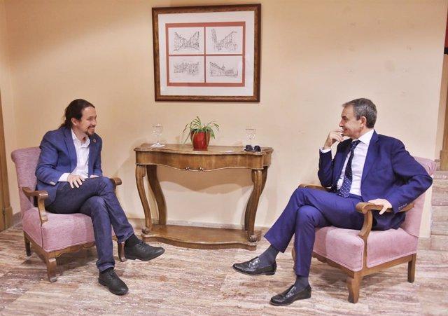El vicepresidente segundo, Pablo Iglesias, se reúne con el expresidente del Gobierno José Luis Rodríguez Zapatero, en El Escorial
