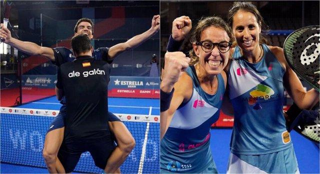 Alejandro Galán y Juan Lebrón y Gemma Triay y Lucía Sainz, campeones del Estrella Damm Alicante Open del World Padel Tour