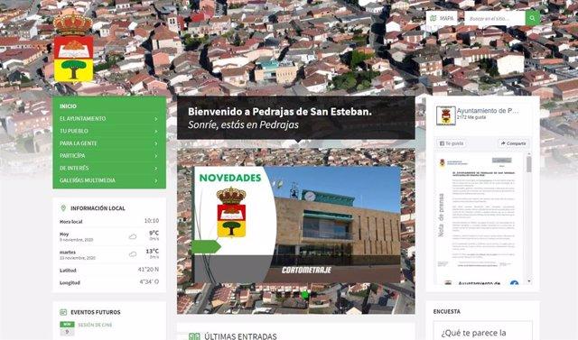 Captura de la nueva web del Ayuntamiento de Pedrajas.