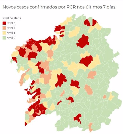 Los municipios gallegos en alerta roja bajan a 44 tras desactivarse en Santiago y otras cinco localidades