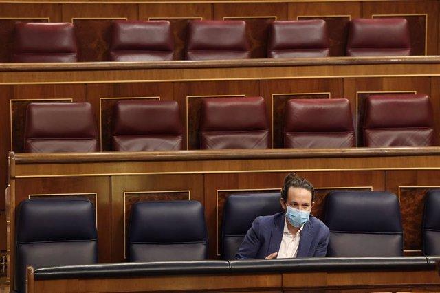 El vicepresident segon del Govern espanyol, Pablo Iglesias, en el ple de la moció de censura de Vox al Congrés dels Diputats.