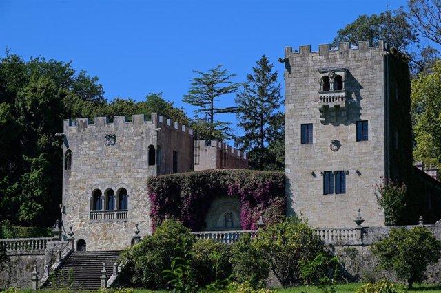 Fachada del Pazo de Meirás, hasta ahora propiedad de la familia Franco, el día en el que el Juzgado de Primera Instancia número 1 de A Coruña ha estimado íntegramente la demanda para la devolución del Pazo interpuesta por el Estado, al que declara propiet