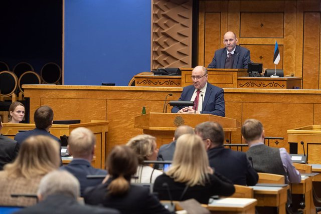 HANDOUT - 17 December 2019, Estonia, Tallinn: Etonian Minister of the Interior Mart Helme attends a no-confidence vote at the Estonian parliament (Riigikogu).  Mart Helme, a member of the far-right Conservative People's Party of Estonia (EKRE), in a radio