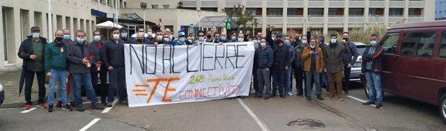 Protesta contra el cierre de TE Connectivity en Montcada i Reixac (Barcelona).