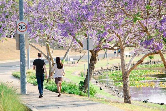 Jóvenes paseando por el parque
