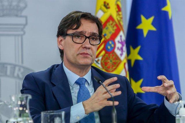 El ministre de Sanitat, Salvador Illa, intervé en la roda de premsa posterior al Consell Interterritorial a La Moncloa. Madrid, (Espanya), 4 de novembre del 2020.