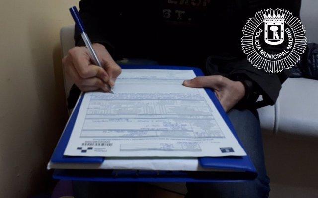 Acta de la Policía Municipal de Madrid