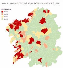 Mapa de Galicia con la incidencia de la pandemia del coronavirus por municipios, a 10 de noviembre de 2020.
