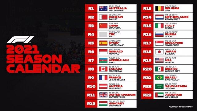 Calendario de la F1 para 2021