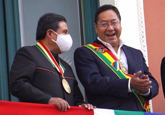 David Choquehuanca y Luis Arce tras la toma de posesión