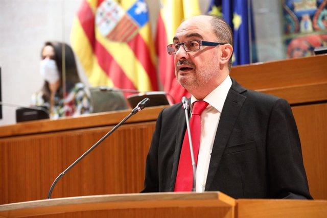 El president aragonès, Javier Lambán, en el seu discurs d'intervenció