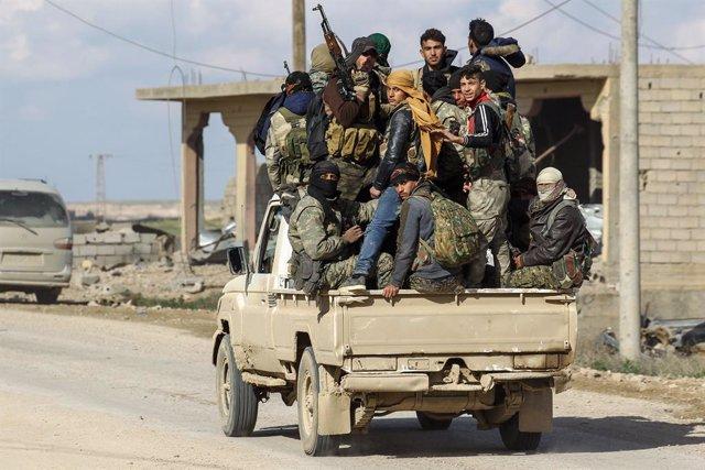 Combatientes de las FDS en Baghuz