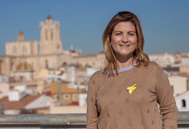 Pla mitjà de la diputada d'Esquerra Raquel Sans en una imatge promocional del partit per les eleccions del 21-D del 2017. Imatge publicada el 9 de novembre del 2020. (Horitzotnal)