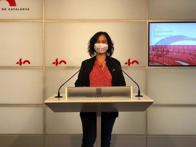La portaveu dels comuns al Parlament, Susanna Segovia, en una roda de premsa el 10 de novembre del 2020