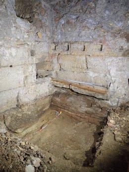 Pla general de les estructures del Fòrum de Tarraco que han aparegut durant una intervenció arqueològica a la Part Alta de la ciutat. Imatge del 9 de novembre del 2020 (vertical)