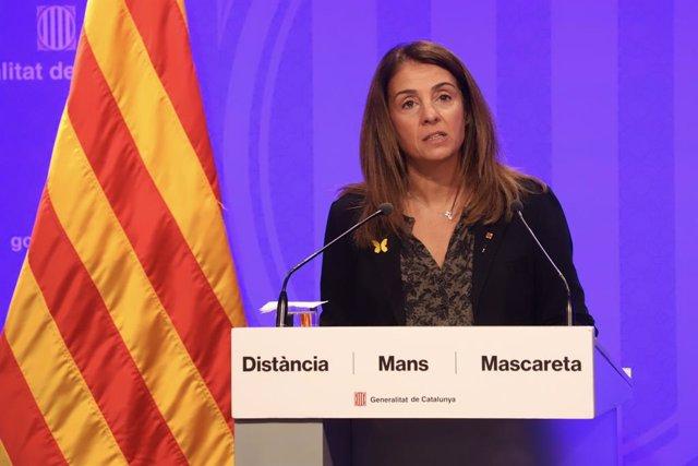 La consellera de presidència i portaveu del Govern, Meritxell Budó, en una roda de premsa telemàtica.