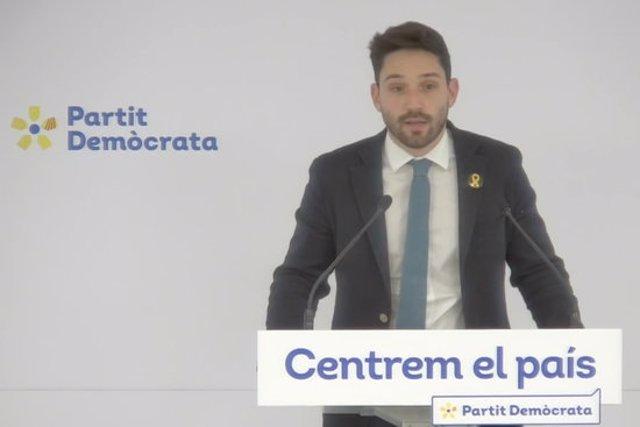 El diputat gironí, Sergi Miquel, durant una roda de premsa a la seu del PDeCAT el 10 de novembre de 2020 (Horitzontal)