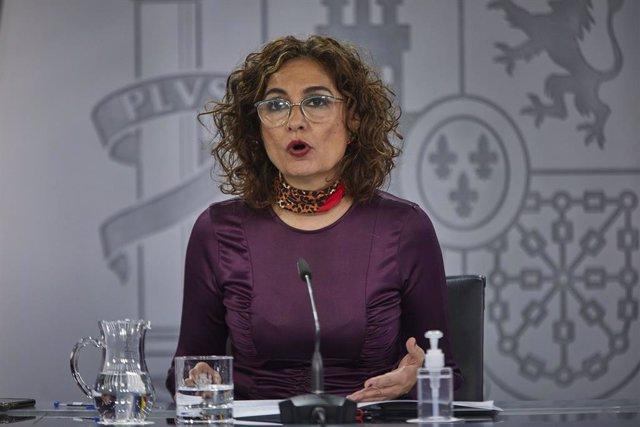 La ministra portaveu i d'Hisenda, María Jesús Montero, durant una roda de premsa. La Moncloa, Madrid, (Espanya), 10 de novembre del 2020.