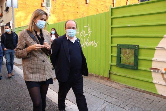 Pla americà de l'alcaldessa de Santa Coloma de Gramenet, Núria Parlon, i el primer secretari del PSC, Miquel Iceta, el 10 de novembre de 2020. (Horitzontal)
