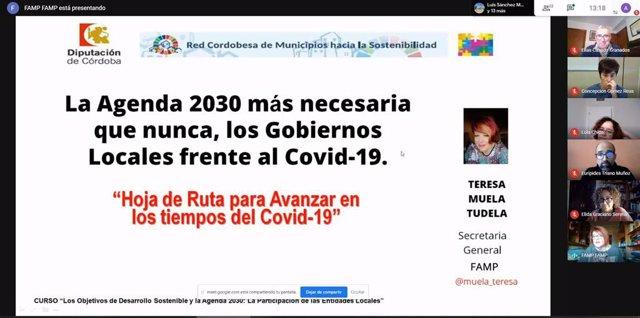 La secretaria general de la FAMP, Teresa Muela, interviene en la jornada sobre Desarrollo Sostenible y Agenda 2030 de la Diputación de Córdoba