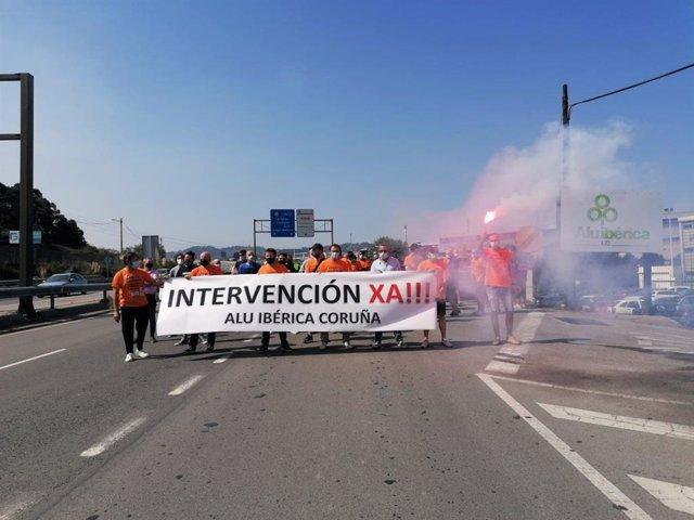 Movilización de los trabajadores de Alu Ibérica