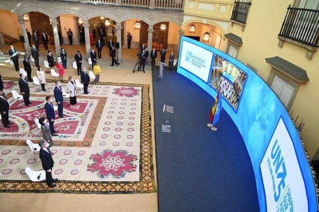 Vista general de los asistentes al acto de conmemoración del 75 aniversario de la entrada en vigor de la carta de las Naciones Unidas, en el Palacio Real de El Pardo, El Pardo, Madrid, (España), a 10 de noviembre de 2020. Durante el acto de este 75 aniver