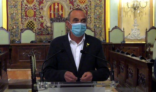 Captura de pantalla dde l'alcalde de Lleida, Miquel Pueyo, durant la roda de premsa a la Paeria, el 10 de novembre del 2020. (Horitzontal)