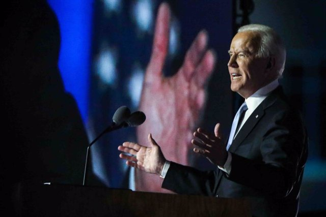 07 November 2020, US, Wilmington: USpresident-elect Joe Biden delivers a speech at Chase Center after defeating incumbent President Donald Trump to become the US 46th president. Photo: Saquan Stimpson/ZUMA Wire/dpa