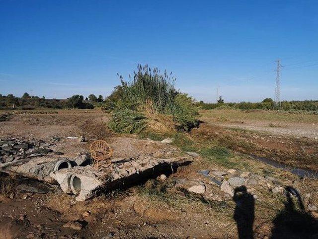 Imatge de danys provocats pels aiguats de l'octubre del 2019 en diverses infraestructures de reg agrícola, en una imatge d'arxiu. (Horitzontal)