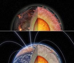 Estas ilustraciones muestran tres versiones de un planeta rocoso con diferentes cantidades de calentamiento interno de elementos radiactivos.