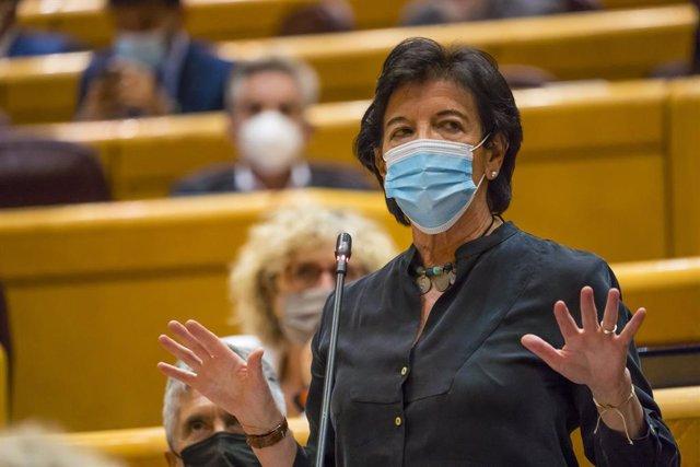 La ministra d'Educació i Formació Professional, Isabel Celaá, intervé en una sessió al Senat.