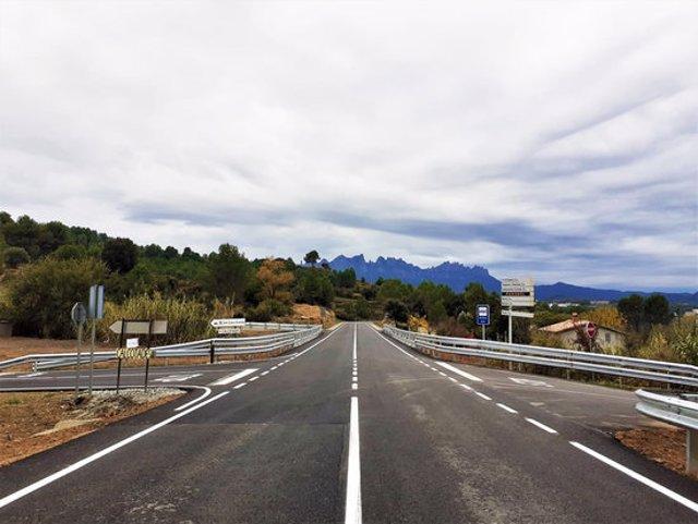 Pla general de la carretera BV-1229 després de les obres. Imatge publicada l'11 de novembre del 2020. (Horitzontal)